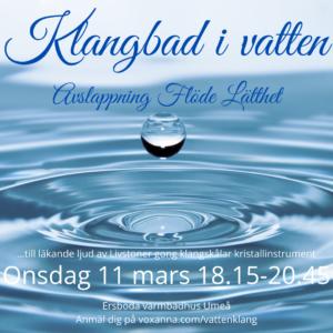 Inbjudan klangbad i vatten 11 mars